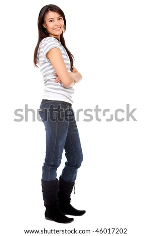 confident casual girl isolated over a white background - stock photo