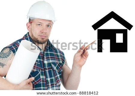 Confident caucasian construction worker demonstrating the project of a future building, white background - stock photo