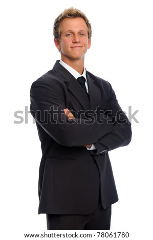 Confident caucasian man in formal business suit - stock photo