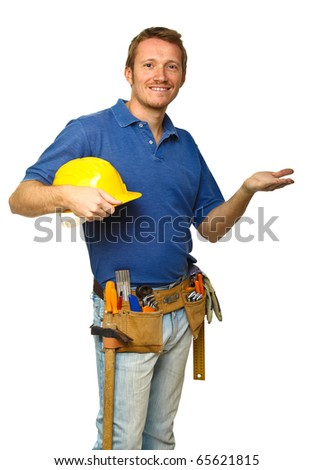 confident caucasian manual worker isolated on white background - stock photo