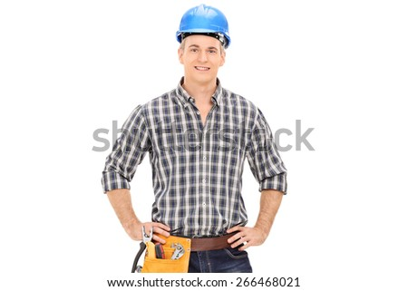 Confident construction guy in uniform wearing blue helmet and posing isolated on white background - stock photo