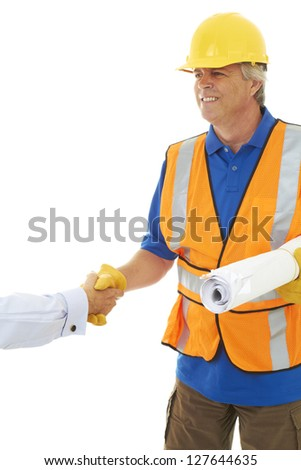 Confident Construction Worker sealing the deal isolated on white. - stock photo