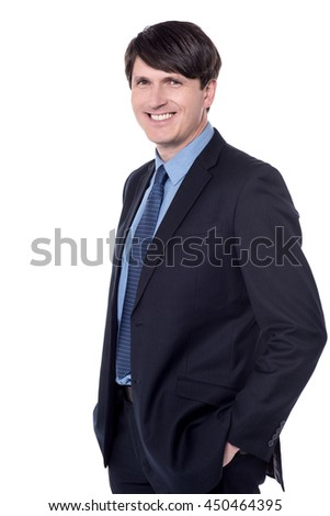 Confident corporate guy isolated against white - stock photo