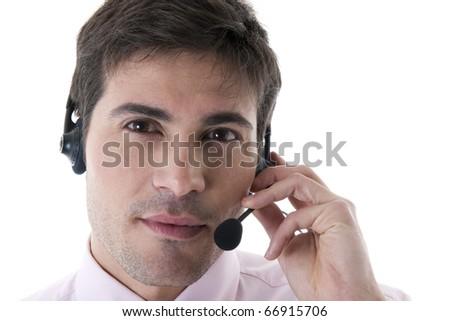 Confident Customer Service Representative on White - stock photo