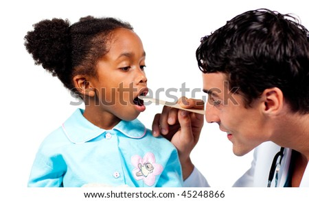 Confident doctor checking his patient's throat isolated on a white background - stock photo