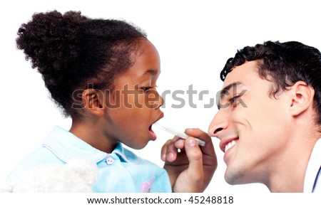 Confident doctor taking his patient's temperature isolated on a white background - stock photo