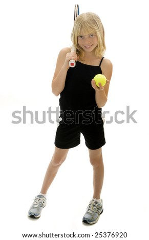 Confident Elementary Age Girl with Tennis Ball and Racket.  Isolated. - stock photo