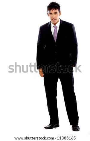 confident european business man standing isolated over a white background