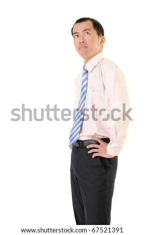 Confident executive of Asian looking copyspace on white. - stock photo