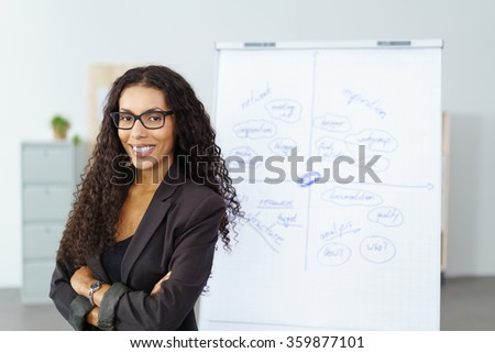 Confident experienced successful young African American businesswoman standing with folded arms in front of a flip chart as she does a presentation - stock photo