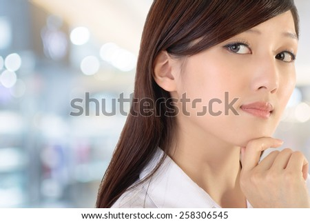 Confident expression on successful businesswoman of Asian on white background. - stock photo