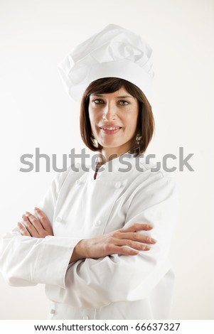 Confident Female Chef on White Background