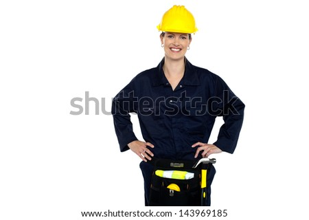 Confident female civil engineer posing casually - stock photo