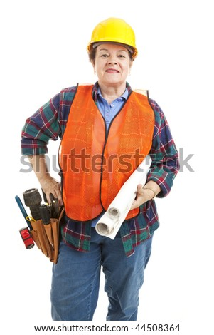 Confident female construction worker with her tools and blueprints. Isolated on white.