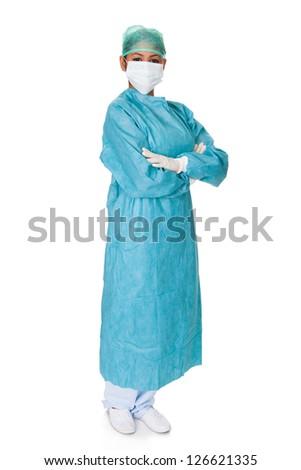 Confident Female Surgeon. Isolated On White Background - stock photo