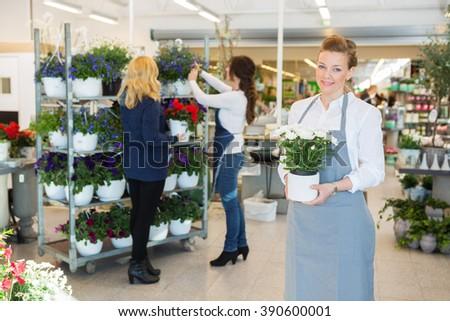 Confident Florist Holding Flower Pot In Shop - stock photo