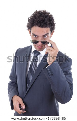 confident handsome businessman in suit with glasess