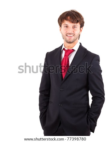Confident handsome manager isolated on white - stock photo