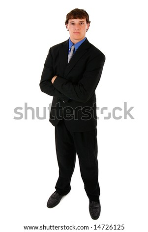 Confident Handsome Young Businessman Full Body Length Portrait on Isolated Background