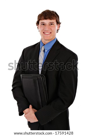 Confident Handsome Young Salesman Holding a Leather Binder