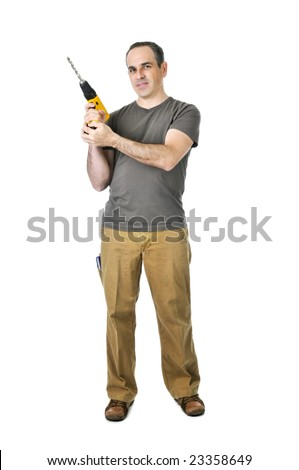 Confident handyman ready to work holding a drill