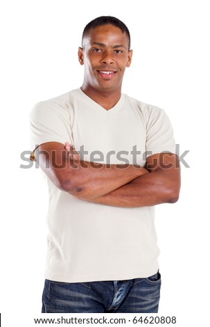 confident indian man with his arms crossed - stock photo