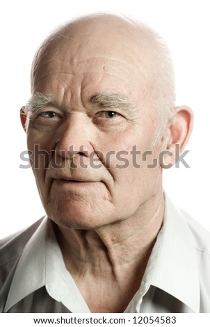 Confident looking elderly man. Isolated on white background