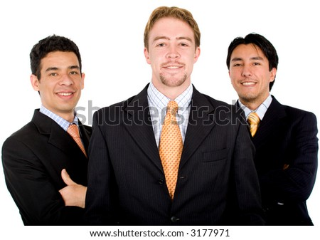 confident male business team over a white background - stock photo