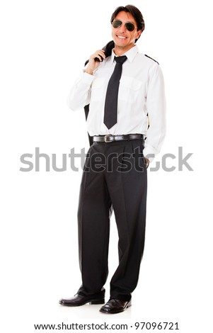 Confident male pilot in uniform - isolated over a white background - stock photo