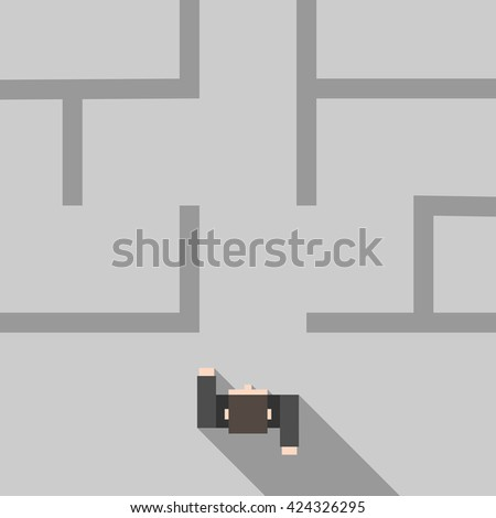 Confident man entering maze. Top view. Flat style. Strategy, confidence, business, success, problem, solution and challenge concept - stock photo