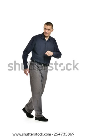 Confident man hurry up on a white background