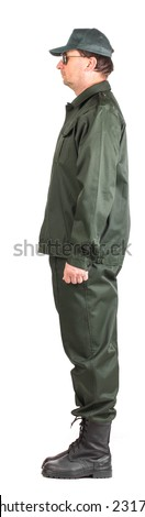 Confident man in uniform. Side view. Isolated on a white background.