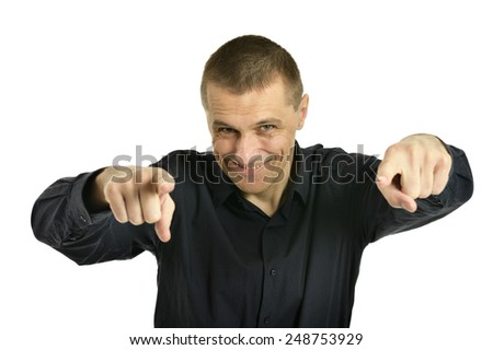 Confident man pointing at you on a white background