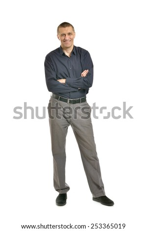 Confident man posing on a white background - stock photo