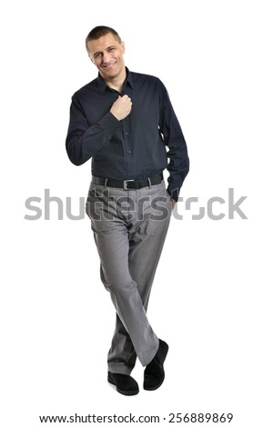 Confident man posing on a white background