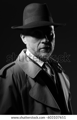 Confident man wearing a fedora hat and a trench coat, he is looking at camera, 1950s noir movie style