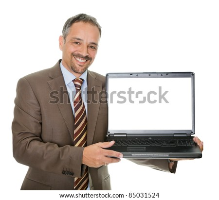 Confident marketing executive displaying a laptop - stock photo