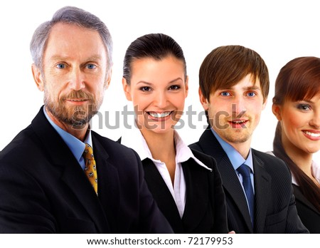 Confident mature business man with his staff discussing at the background - stock photo