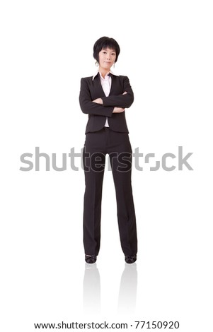 Confident mature business woman, full length portrait isolated on white background.