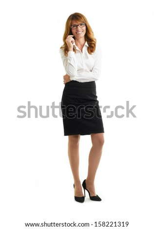 Confident Mature Businesswoman Standing On  White Background