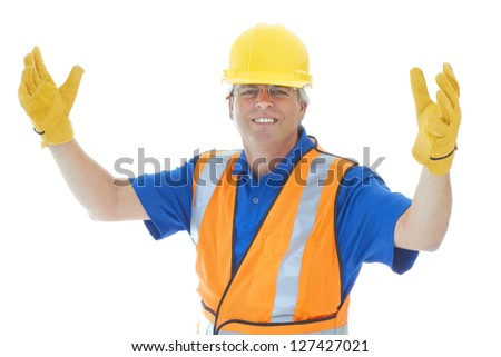 Confident mature construction worker with arms in air isolated on white. - stock photo