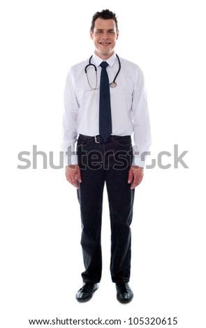 Confident medical male representative isolated over white background. Full length shot