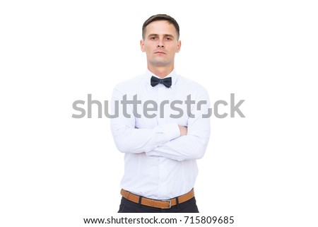 Confident men isolated on white background