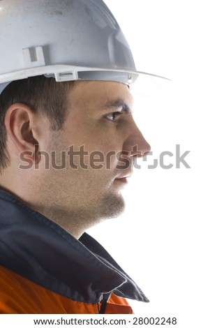 Confident miner profile isolated on white portrait stock photo