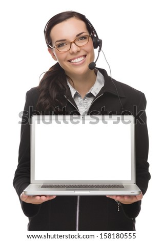 Confident Mixed Race Businesswoman Wearing Headset Holds Computer With Blank Screen Isolated on a White Background �¢?? Contains Clipping Path For Screen.  - stock photo