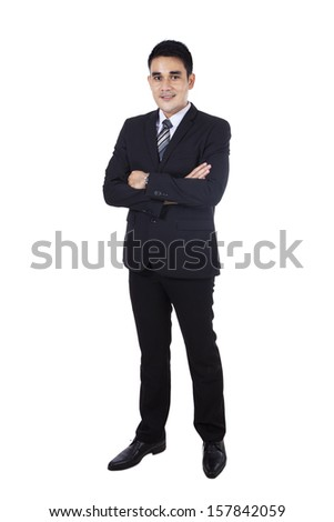 Confident modern business man isolated on white - stock photo