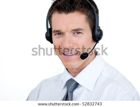 Confident sales representative man with an headset against white background - stock photo