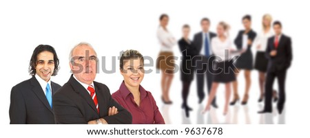 confident senior businessman and his team on white background