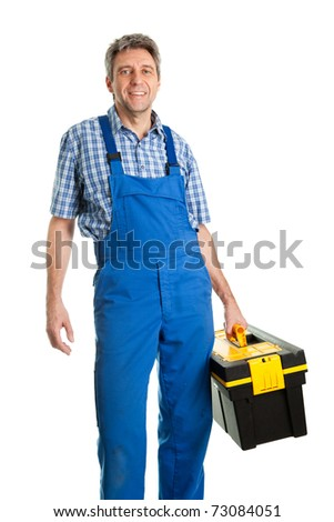 Confident service man with toolbox - stock photo