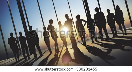 Confident Silhouette Of Business People Team Concept
